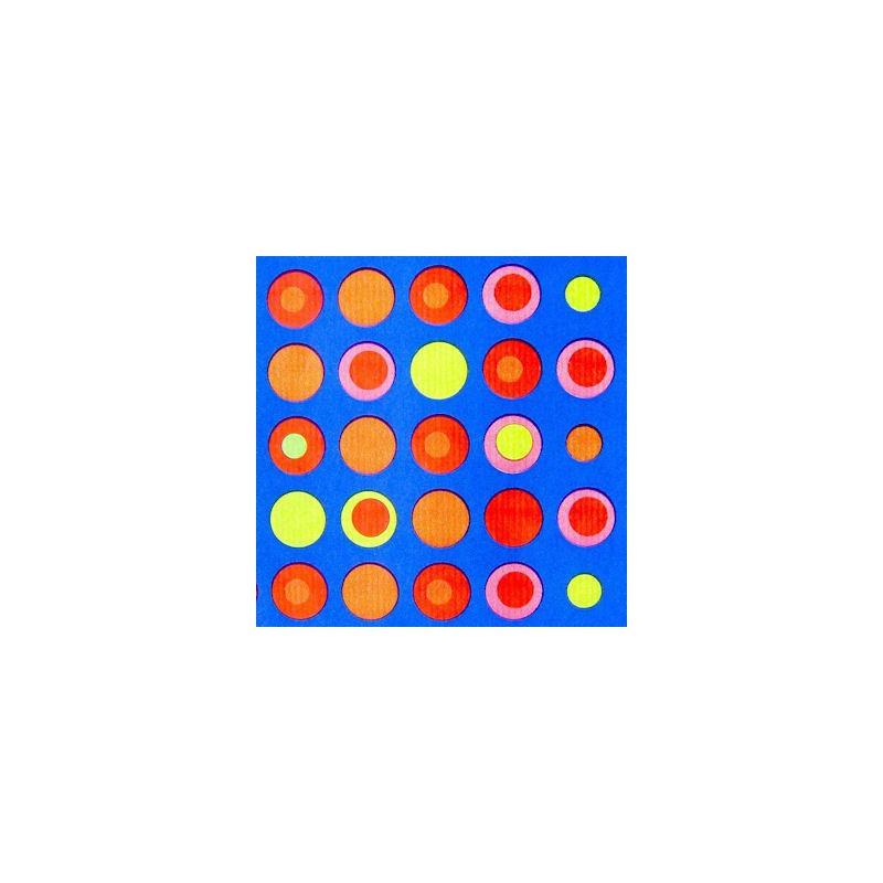 Inpakpapier - Stippen - Multikleur op blauw (Nr. 1005) - Close-up