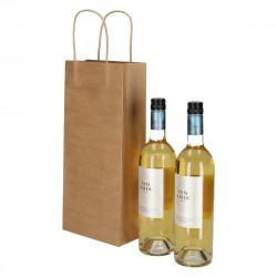 Wijntassen - Bruin - Gedraaid papieren handgreep