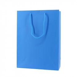 Papieren draagtassen - Fluor Blauw - Luxe - Katoenen koord - Vooraanzicht