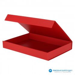 Magneetdoos A4 - Rood Mat (Toscana) - Zijaanzicht voor open