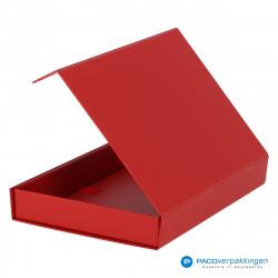 Magneetdoos A5 - Rood Mat (Toscana) - Zijaanzicht achter open