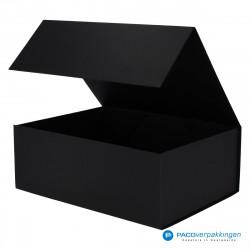 Magneetdoos - Zwart Mat (Toscana) - Zijaanzicht voor open
