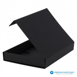 Magneetdoos A5 - Zwart Mat (Toscana) - Zijaanzicht achter open