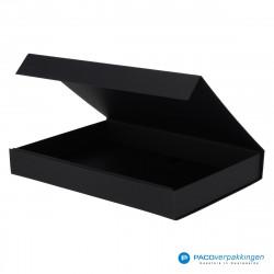 Magneetdoos A4 - Zwart Mat (Toscana) - Zijaanzicht voor open