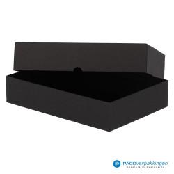 Geschenkdoos met deksel - Zwart Mat - Luxe - Zijaanzicht open