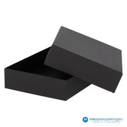 Geschenkdoos met deksel - Zwart Mat - Luxe - Zijaanzicht achter open