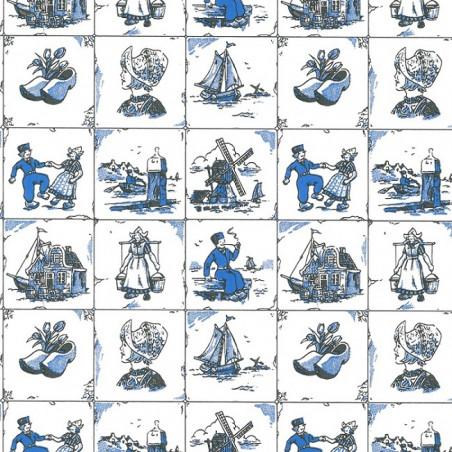 Inpakpapier - Hollands - Blauw op wit (Nr. 200)
