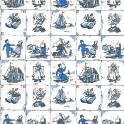 Inpakpapier - Hollands - Blauw op wit (Nr. 200) - Close-up