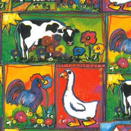 Inpakpapier - Dieren - Multikleur op groen (Nr. 425)