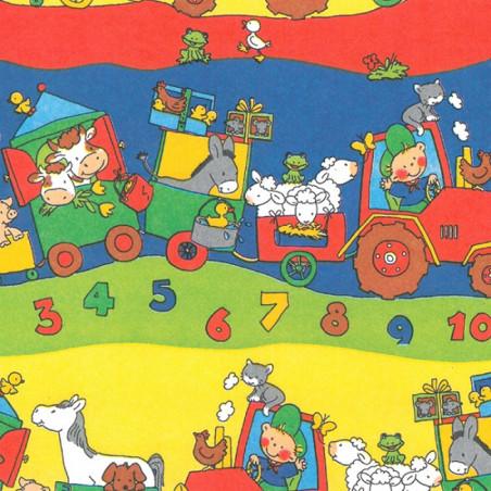 Inpakpapier - Dieren - Multikleur op rood (Nr. 480)