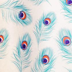 Zijdepapier - Pauw - Blauw op wit - Close-up