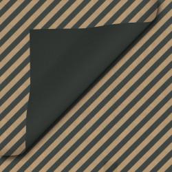 Inpakpapier - Strepen - Zwart op bruin kraft (Nr. 110) - Close-up