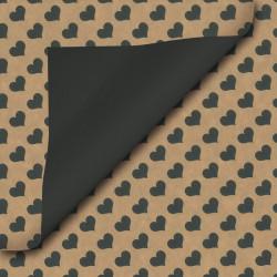 Inpakpapier - Hartjes - Zwart op bruin kraft  (Nr. 111) - Close-up