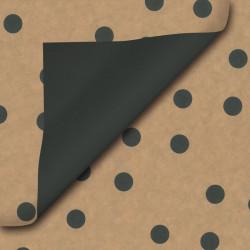Inpakpapier - Stippen  - Zwart op bruin kraft  (Nr. 112) - Close-up
