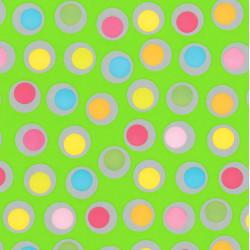 Inpakpapier - Stippen - Multikleur op groen (Nr. 401) - Close-up