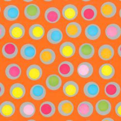 Inpakpapier - Stippen - Multikleur op oranje (Nr. 402) - Close-up