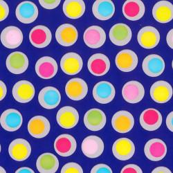 Inpakpapier - Stippen - Multikleur op blauw (Nr. 403) - Close-up