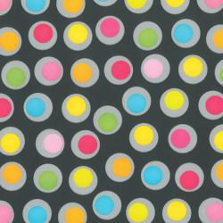Inpakpapier - Stippen - Multikleur op zwart (Nr. 404) - Close-up
