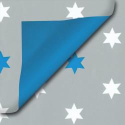 Inpakpapier - Sterren -  Blauw op grijs (Nr. 418) - Close-up