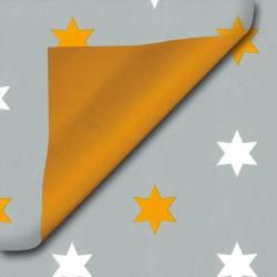 Inpakpapier - Sterren -  Oranje op grijs (Nr. 420) - Close-up