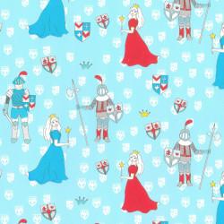 Inpakpapier - Kids - Blauw - Ridders en prinsessen - Rood op blauw (Nr. 458) - Close-up