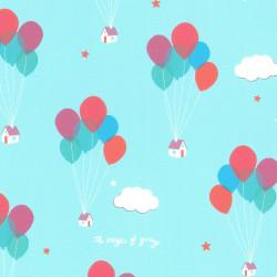 Inpakpapier - Lichtblauw - Huis met balonnen - Multikleur op blauw (Nr. 459) - Close-up