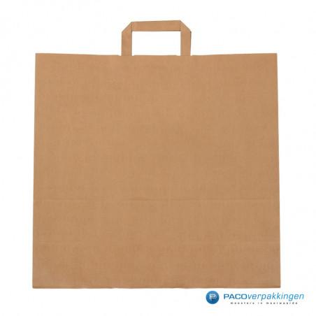 Papieren draagtassen - Bruin Kraft - Platte handgreep