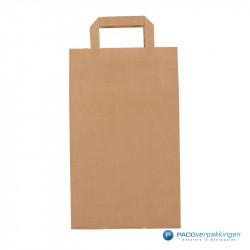 Papieren draagtassen - Bruin Kraft - Platte handgreep - Vooraanzicht