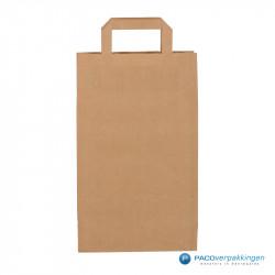 Papieren draagtassen - Bruin Kraft - Platte handgreep - Achteraanzicht