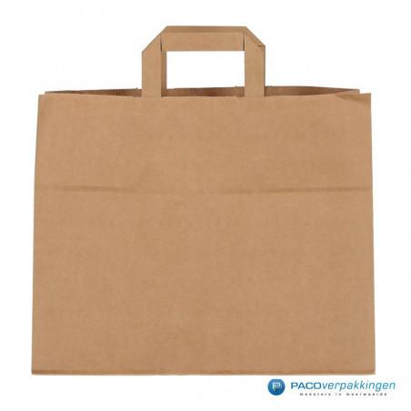 Papieren draagtassen - Snacktas - Bruin Kraft - Platte handgreep
