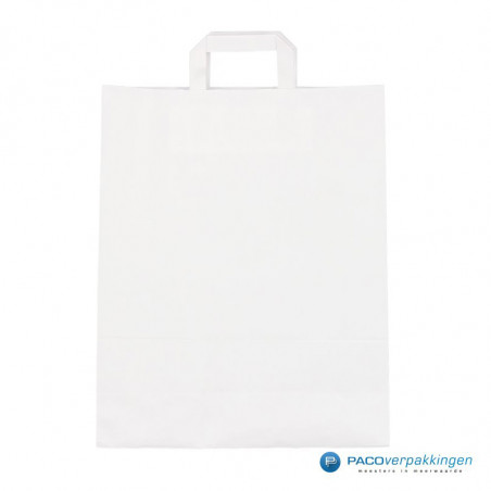 Papieren draagtassen - Wit - Platte handgreep