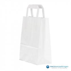 Papieren draagtassen - Wit - Platte handgreep - Zijaanzicht voor