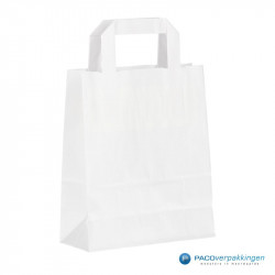 Papieren draagtassen - Wit - Platte handgreep - Zijaanzicht achter