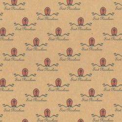 Inpakpapier Sinterklaas - Rood op bruin (Nr. 90042) - Close-up