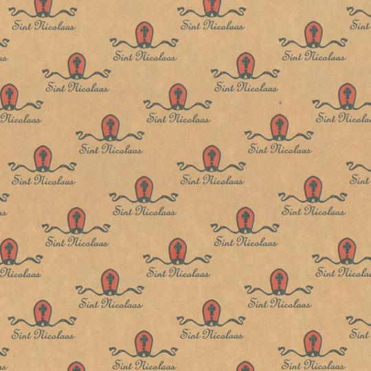 Inpakpapier Sinterklaas - Rood op bruin (Nr. 90042)