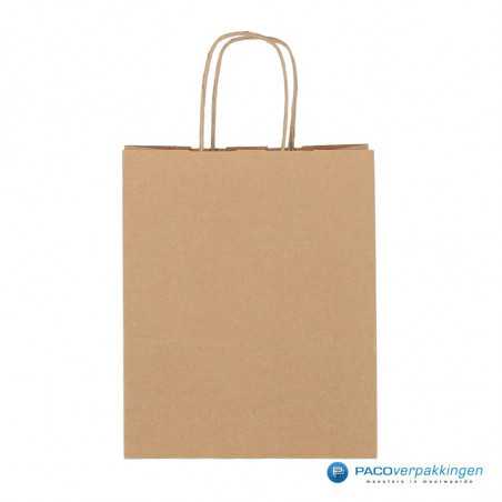 Papieren draagtassen - Bruin Kraft - Gedraaide handgreep
