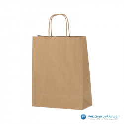 Papieren draagtassen - Bruin - Gedraaide handgreep - Zijaanzicht voor