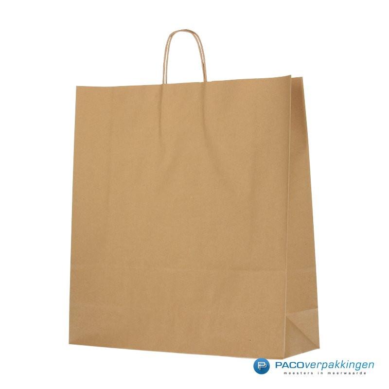 Papieren draagtassen - Bruin Kraft - Gedraaide handgreep - Zijaanzicht voor