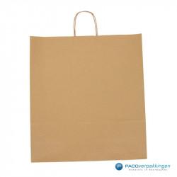 Papieren draagtassen - Bruin Kraft - Gedraaide handgreep - Vooraanzicht