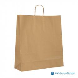 Papieren draagtassen - Bruin Kraft - Gedraaide handgreep - Zijaanzicht achter