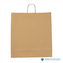 Papieren draagtassen - Bruin Kraft - Gedraaide handgreep - Achteraanzicht
