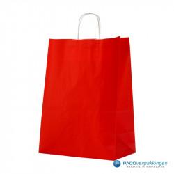 Papieren draagtassen - Rood - Gedraaide handgreep - Zijaanzicht voor