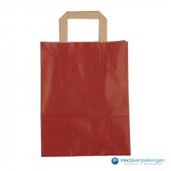 Papieren draagtassen - Rood Kraft - Platte handgreep - Vooraanzicht