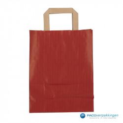 Papieren draagtassen - Rood Kraft - Platte handgreep - Achteraanzicht
