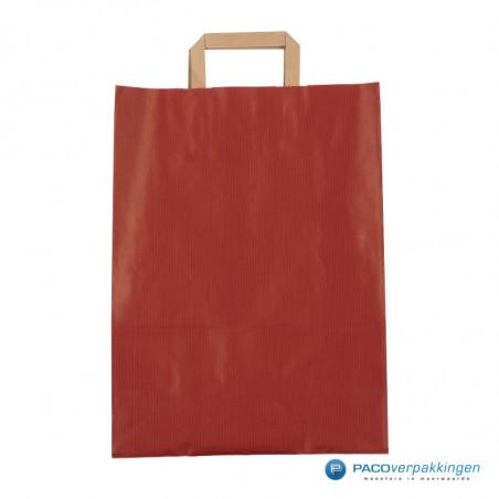 Papieren draagtassen - Rood Kraft - Platte handgreep