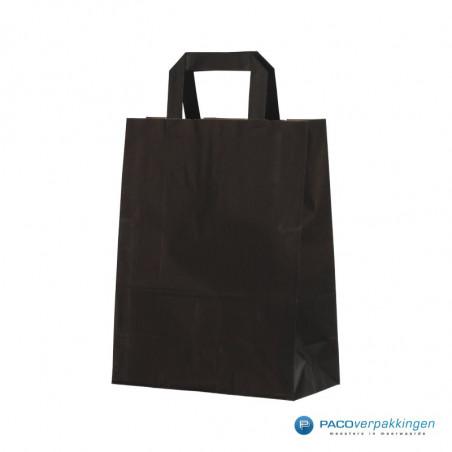 Papieren draagtassen - Zwart Kraft - Platte handgreep