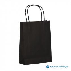 Papieren draagtassen - Zwart - Gedraaide handgreep - Zijaanzicht achter