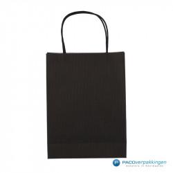 Papieren draagtassen - Zwart - Gedraaide handgreep - Achteraanzicht