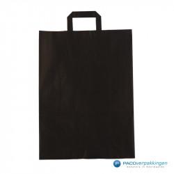 Papieren draagtassen - Zwart Kraft - Platte handgreep - Vooraanzicht