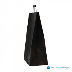 Papieren draagtassen - Zwart Kraft - Platte handgreep - Zijaanzicht